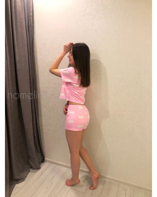 Пижамка ТОП +Шорты Розовое Облако