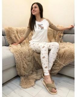 Пижама Кофта + Лосины Бежевый Олень