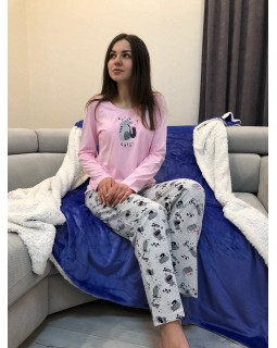 Пижама Кофта + Брюки Розовый  JAZZ Котик